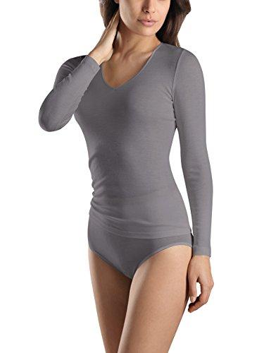 - HANRO Women's Woolen Silk Long Sleeve Shirt, Mole, X-Small