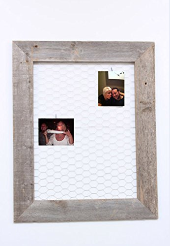 Reclaimed Rustic Barnwood Chicken Wire Photo or Message Board - Includes 10 Mini Clothes (Frame Photo Wire Chicken)