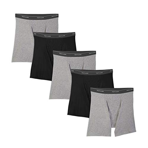 Fruit of the Loom Men's No Ride Up Boxer Brief, Black/Gray (5-Pack), Medium