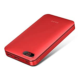Power Bank 20000mAh Solove Ultra Compact Portable Charger with Micro Lightning Input Port LED Display for iPhone, Android Phones,Different Electronic Devices (Red)