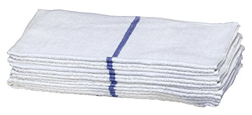 Buffalo Industries (60224) 16″ x 19″ Striped Bar Towel, Blue (Pack of 12)