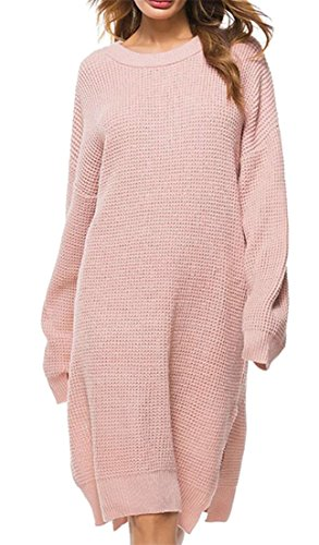 Length JSYAU Neck Round Pink Solid Knitting Sleeve Color Side Mid Women Loose Slit Long Sweaters Dress OrwxanBqTO