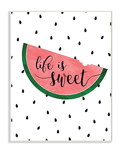 Stupell Industries Life is Sweet Watermelon Wall Plaque Art, 10 x 0.5 x 15, Proudly Made in USA by The Stupell Home Decor Collection