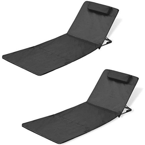 Daonanba Folding Beach Mat Beach Chairs Lounge Chaise Comfortable Chaise Chair Set of 2 Sun Lounger Black Style A by Daonanba