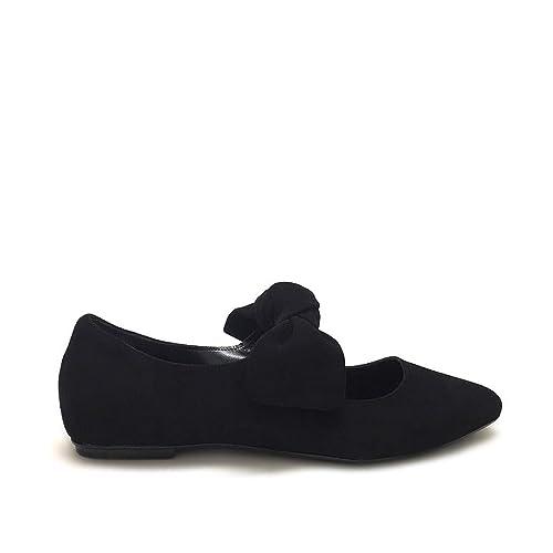 negozio online 7c4c8 3e901 Shoe gar Ballerine in camoscio a Punta Nere con Fiocco Zeppa ...