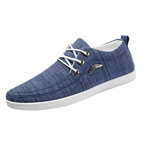 Mens Canvas Lace Up Sneakers,SMALLE◕‿◕ Men Canvas Shoes Skate Board Fashion Sneakers Casual Shoes Low Top Skate Shoe Blue