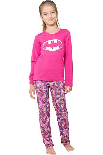 Comic Book Girl Halloween (DC Comics Girls' Little Batgirl Long Sleeve Yoga Pajama Set, Pink,)