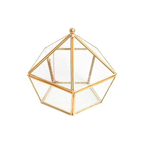 Golden Shapes Pentagon Vintage Style Brass Tone Metal Frame Chest Geometric Terrarium Window Box Storage Clear Glass Mirrored Shadow Box Jewelry Stand Display Case Air Plant Slanted Top Swing - Geometric Pentagon