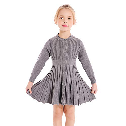 SMILING PINKER Little Girls Pleated Dress School Uniform Long Sleeve Button Front Knit Sweater Dress (Grey, 5-6) -