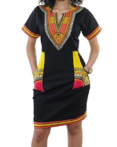 donne Bicchierino Tessuto Metà Stile Vestito Del manicotto Africano Pattern2 Stampato Elastico Coolred dEF1qgd