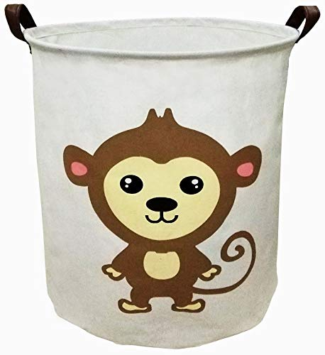 BOOHIT Storage Baskets,Canvas Fabric Laundry Hamper-Collapsible Storage Bin with Handles,Toy Organizer Bin for Kid's Room,Office,Nursery Hamper, Home Decor (Cute Monkey)