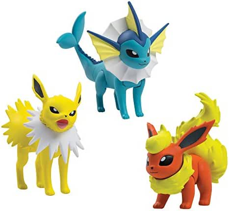 TOMY Pokémon Action Pose 3 Figure Pack, Flareon, Jolteon and Vaporeon