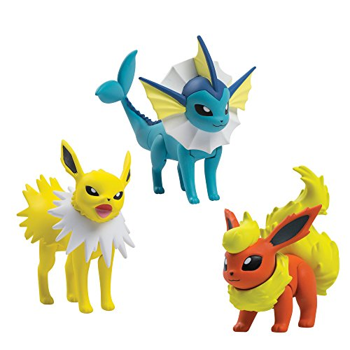 - TOMY Pokémon Action Pose 3 Figure Pack, Flareon, Jolteon and Vaporeon