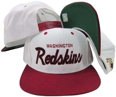 Washington Redskins White/Maroon Script Two Tone Adjustable Snapback Hat / Cap