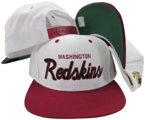(Washington Redskins White/Maroon Script Two Tone Adjustable Snapback Hat / Cap)