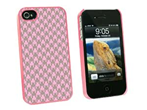 Graphics and More Preppy Houndstooth Pink Gray Snap-On Hard Protective Case for Apple iPhone 4/4S - Non-Retail Packaging - Pink