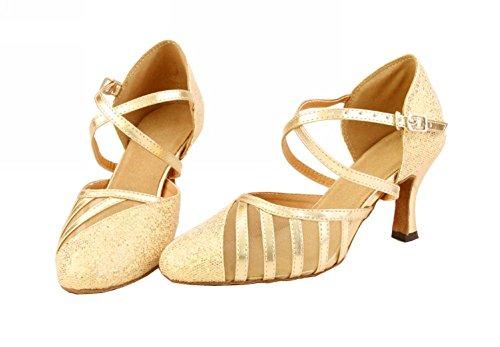 Minitoo Ly129 Donna Sparkle Satin Salsa Tango Da Ballo Latino Scarpe Da Ballo Partito Oro