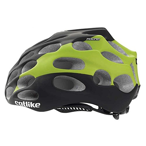 Catlike Mixino Road Cycling Helmet, SM, Black/Green Matte