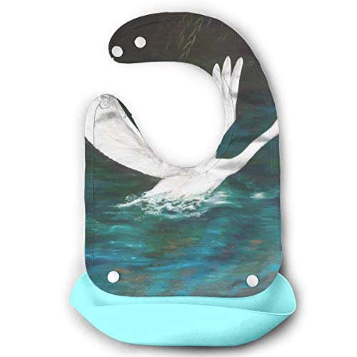 White Swan On The Dark Water Waterproof Silicone Bibs Baby Girls' Boys' Burp Cloths