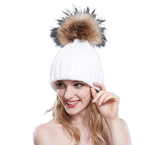 e68d03f367583 Thermal Winter Fur Hat Fox Raccoon Fur Ball Female Knitted Hat Lovers Hat  (White   Raccoon Ball) - Buy Online in Oman.