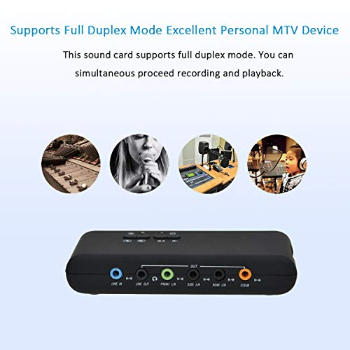A ADWITS 7.1 Channel External USB Sound Card with SPDIF Digital Audio for Desktop Laptop PC, Support DAC Output ADC Input Dual Mic, 48 KHz Sampling Rate, SCMS Compliant