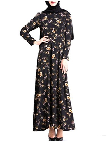 Coolred-femmes Printemps Floral Robes Musulmanes Elegent Manches Longues Abaya Noir