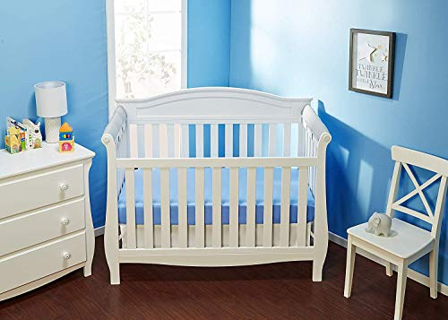 Everyday Kids Padded Baby Crib Rail Cover Set- Crib Rail Teething Guard - 3-Piece Front and Side Padded Rail Cover- with Sewn Ties for Secure Fit - Navy Soft Microfiber Polyester ...