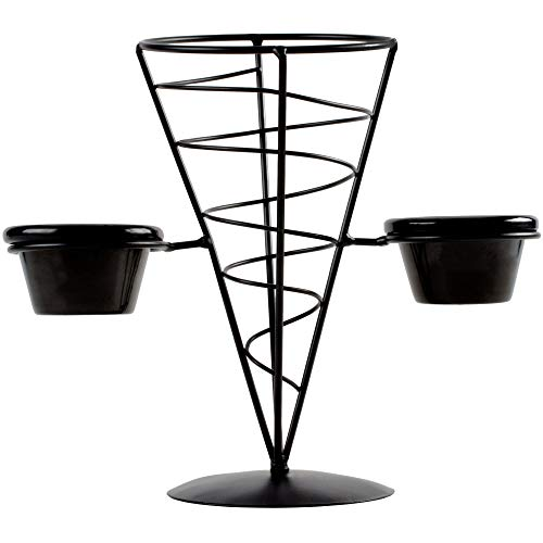 TableTop King ACR259 Vertigo Round Appetizer Wire Cone Basket with 2 Ramekins - 5