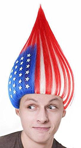 American National Flag Chestnut Cone Wig Sport Fan Costume Party ()