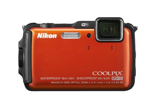 Nikon COOLPIX AW120 16 MP Wi-Fi and Waterproof Digital Camera with GPS and Full HD 1080p Video (Orange) (Discontinued by Manufacturer)