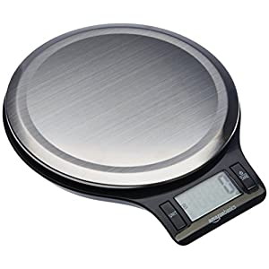 AmazonBasics Stainless Steel Digital Kitchen Scale with LCD Display (Batteries Included) (Renewed) 41dT925CXVL