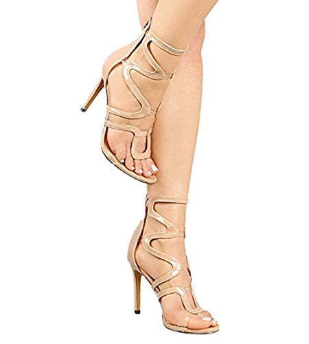 Liliana Strappy Caged Transparent Clear Open Peep Toe High Heels Sandals - Nude Beige, 10