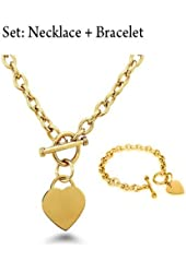 "Crazy2Shop Stainless Steel Yellow Gold Plated Elegant Heart Charm Cable Link Chain Necklace & Bracelet Set with Toggle Clasp, 18"" & 7.5"""