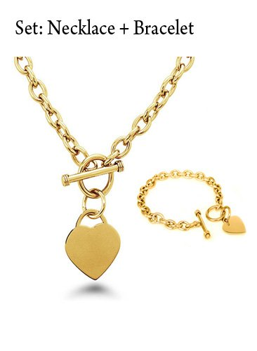 Crazy2Shop Stainless Steel Yellow Gold Plated Elegant Heart Charm Cable