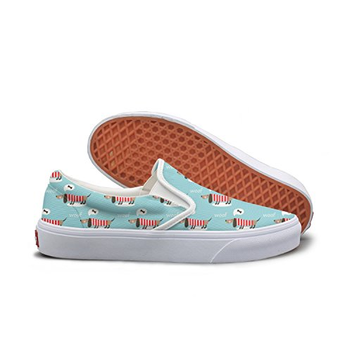 Lalige Miniature Dachshund And Bones Womens Vintage Canvas Slip-ons Walking Shoes