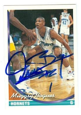 bcf3ddafd Muggsy Bogues autographed basketball card (Charlotte Hornets) 1993 Topps  9  - Basketball Autographed