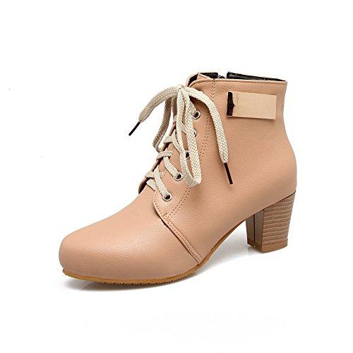BalaMasa Womens Glitter Bandage Chunky Heels Urethane Boots ABL10669 Yellow