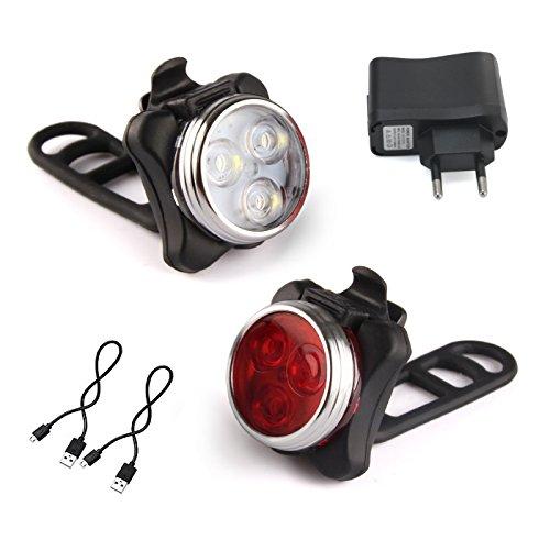 Beautystar Wiederaufladbare LED Fahrradlampe, LED Frontlicht und Rücklicht Für Radfahren, 350lm , 4 Licht-Modi, Fahrradscheinwerfer, Fahrradlicht, Fahrradbeleuchtung Set (2 USB-Kabel &1 Ladegerät)
