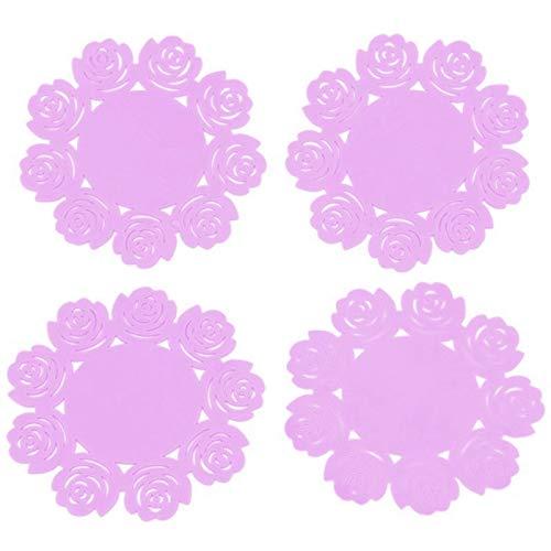 (4 Pcs Silicone Coasters Lace Sets Tea Cup Mat Flower Doilies Silicone Coast Q1E1)