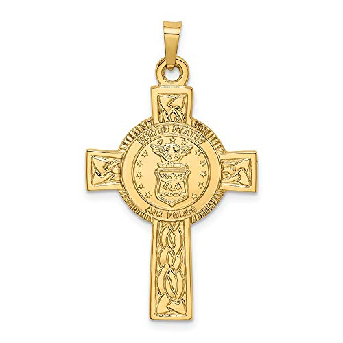 14k Yellow Gold Cross Religious Air Force Insignia Pendant Charm Necklace Military Medal Latin Fine Jewelry Gifts For Women For Her (Air Force Insignia Pendant)