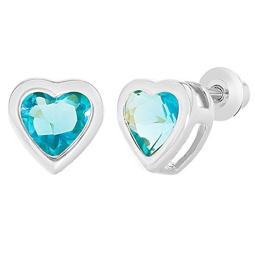 Rhodium Plated Light Blue Aqua Crystal Heart Screw Back Earrings Toddlers (Aqua Blue Earrings)