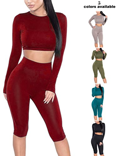 Amilia Womens Sexy Long Sleeve Crop Tops High Waist Leggings 2 Piece Bodycon Set Casual Outfit Tracksuit (M, Wine Red)