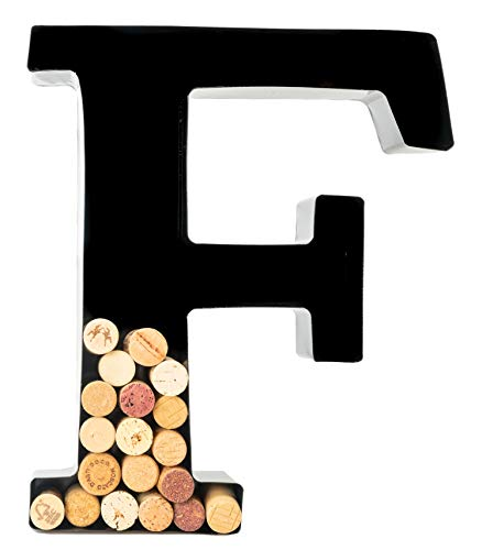 Wine Cork Holder - Metal Monogram Letter (F)]()