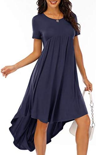 HAOLA WOMEN RUFFLE HIGH LOW ASYMMETRICAL DRESSES PEPLUM TOPS BLOUSE SHIRT DRESS