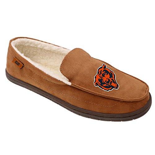 FOCO NFL Chicago Bears Beige Team Logo Moccasin Slippers Shoe, Beige, Medium (9-10)