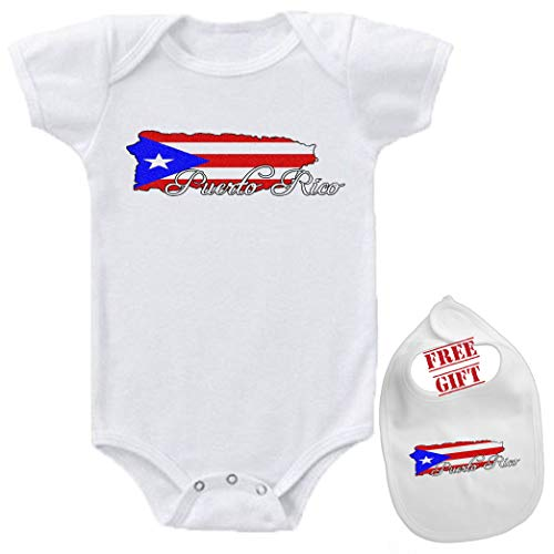 Puerto Rico - Cutom Funny Novelty Cute Baby Bodysuit Onesie & bib Set White]()
