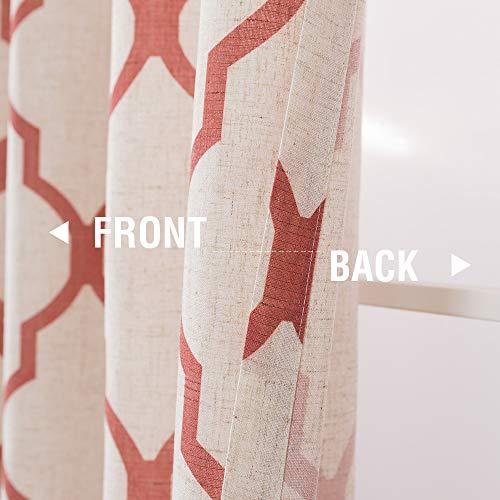 jinchan Moroccan Print Tier Curtains for Kitchen Modern Cafe Half Window Panels Flax Linen Blend Textured Curtain Set 1 Pair 26