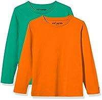 Kid Nation Kids' 2-Pack Long-Sleeve Crew-Neck T-Shirt for Boys or Girls M Green+Orange