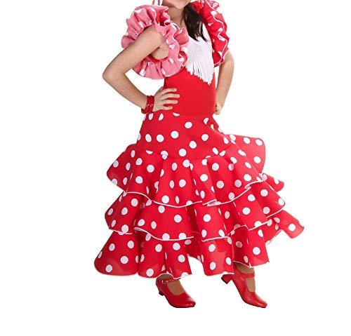 Anuka Vestido de niña para Danza Flamenco o sevillanas (Rojo, 2)
