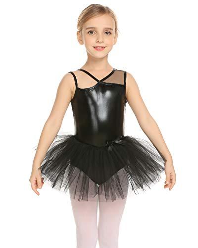 Teaio One-Piece Gymnastics Leotard Skirt for Little Girls Sleeveless Ballet Costume,Black,150]()
